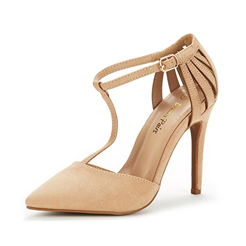DREAM PAIRS Women's Oppointed-Mary Nude Suede Fashion Dress High Heel Pointed Toe Wedding Pumps Shoes Size 7 M US (Linda Nude)
