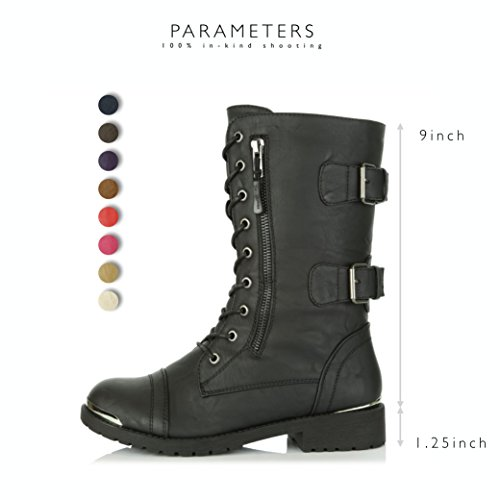 DailyShoes Womens Military Ankle Lace Up Buckle Combat Boots Mid Knee High Exclusive Credit Card Pocket Booties Gold Plate Black UHDyLGPT