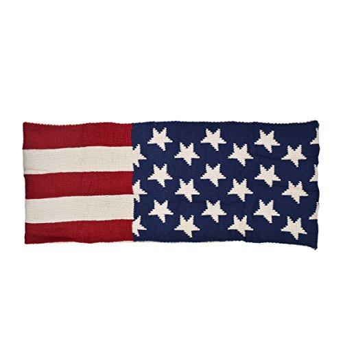 TrendsBlue Premium USA US American Flag Winter Knit Infinity Loop Circle Scarf