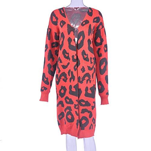 Tricoté Femme D'hiver Cardigan Blousons Rouge Outwear Léopard Gilets Long Manches Coupe Imprimé Casual Parka 2 Veste Dame Pour Doudoune Ouverts Pull Manteau À Zezkt Avant Sport vent Longues wfgqXX