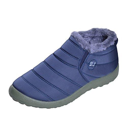 Winter Snow Fur Boots Lining Womens Outdoor Blue Booties Ankle Slip on Warm Waterproof Memorygou qvBUPwU