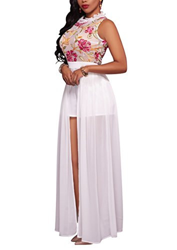 Women's Sleeveless Floral Chiffon Maxi Dresses Overlay Rompers Jumpsuit Playsuit White XL