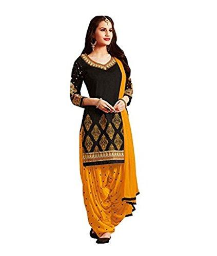 (ziya Indian Wear Balck Cotton with Heavy Embroidery Ready to wear Patiala Salwar Kameez (M-40))