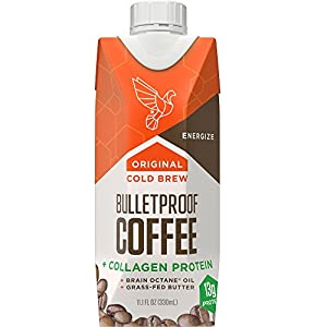 Bulletproof Coffee Cold Brew, Help Promote Energy Without the Sugar Crash, Original + Collagen Protein (12 Pack)