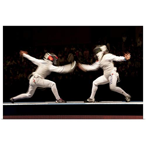 GREATBIGCANVAS Poster Print Entitled Blurred Action of Women's Fencing Competition: 2008 Olympic Summer Games, Beijing, China by Chris Trotman 18