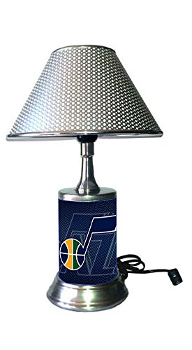 (Jazz Table Lamp with Chrome Colored Shade, Your Favorite Team Plate Rolled in on The lamp Base, Utah J)