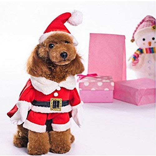OSPet Pet Christmas Costumes Dog Suit with Cap Santa Outfit Puppy Hoodies XS…