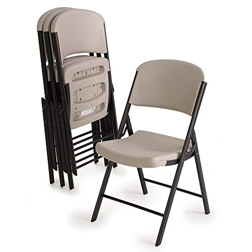 Lifetime 80186 Classic Commercial Grade Folding Chair, Putty with Black Steel Frame, 4 Pack ()