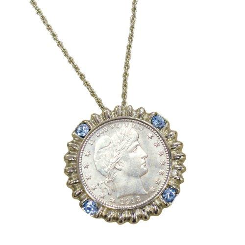 American Coin Treasures Silver Barber Quarter Silvertone Blue Crystal Pendant