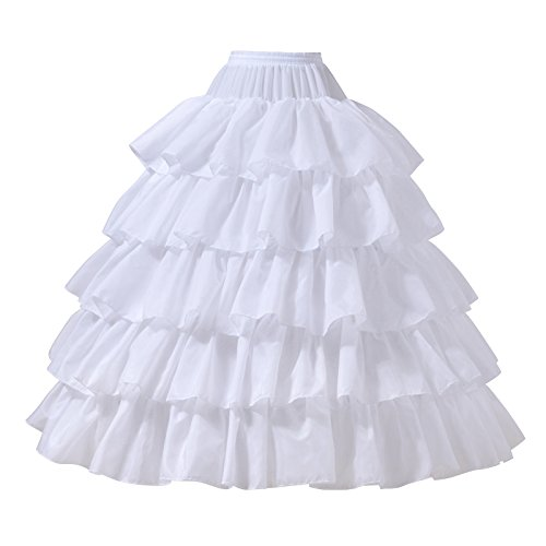 AW Ball Gown Petticoat Skirt Floor Length Bridal Petticoat White Crinoline Underskirt with Detachable Hoops, Large -