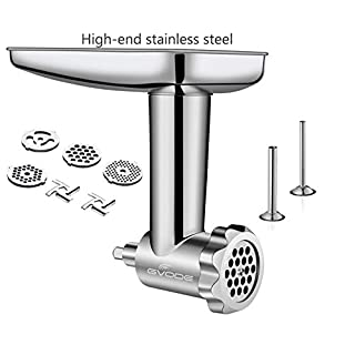 Stainless Steel Food Grinder Attachment fit KitchenAid Stand Mixers Including Sausage Stuffer, Dishwasher Safe,Durable Meat Processor Accessories