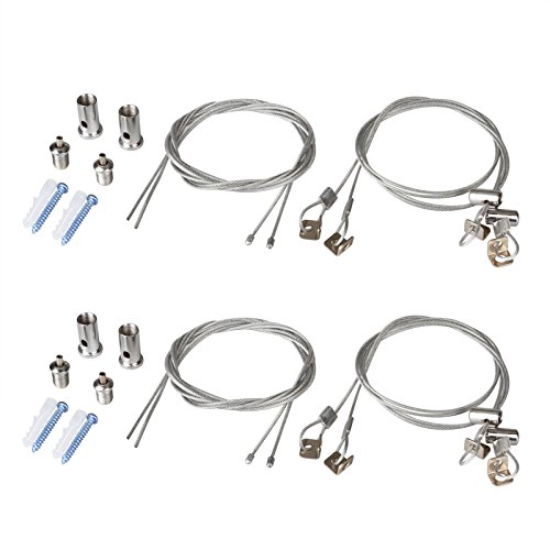 OTTFF 2Set/8pcs Lights Suspension Kit Luminaire Installation Hardware Adjustable Fastener - 3.2ft Iron Cable can Trimmed Length - Load 3KG Per Strip for Aquarium Lights LED Panel Light(2 Sets)