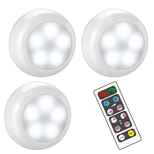 BLS Wireless Dimmable LED Puck Lights with Remote Control, AA-1030 Operated with 3 AA Batteries, Stick on LED Under Cabinet Lighting with Timer, Cool White and Warm White (3 Pack)