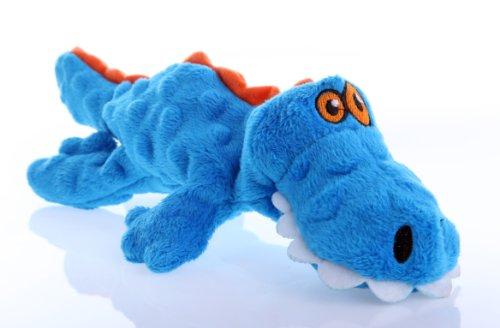 goDog Gators With Chew Guard Technology Tough Plush Dog Toy, Blue, Small (Dog Puppy Plush Blue)