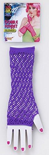 [Forum Novelties Women's Club Candy Double Fishnet Novelty Glovelettes, Purple, One Size] (Punk Rocker Costume Accessories)
