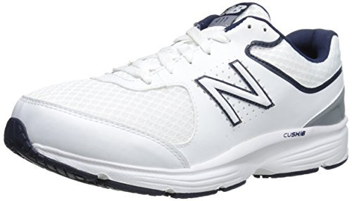 New Balance Men's MW411v2 Walking Shoe, White/Blue, 9 4E US