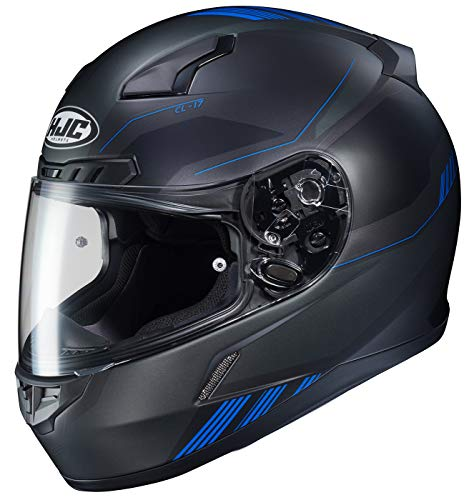 HJC Unisex Adult Full Face CL-17 Combat Motorcycle Helmet MC-2SF Black/Blue Large