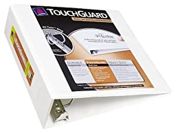 Avery Touchguard Antimicrobial Protection View Binder with 3-Inch Slant Ring, Holds 8.5 x 11-Inch Paper, White, 1 Binder (17144)
