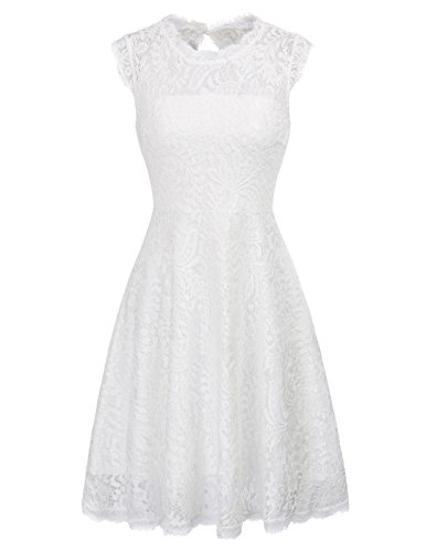 Knee Length Lace Wedding Dress - GRACE KARIN Women's Sleeveless Lace Cocktail Dress Knee Length for Party Size S White