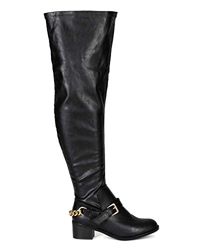 Breckelles BG25 Women Leatherette Thigh High Buckle Riding Boot - Black rPxJQ5o