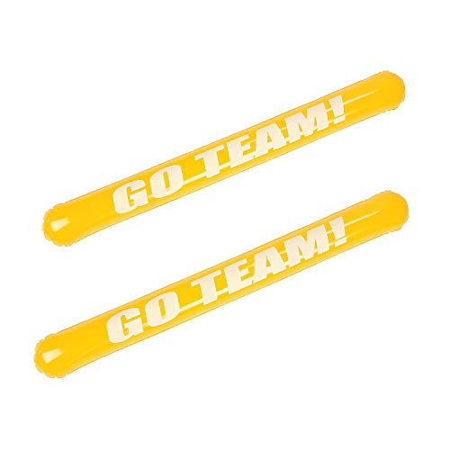 Fun Express - Yellow Inflate Go Team Noisemaker Stick - Toys - Inflates - Misc Inflates - 12 Pieces