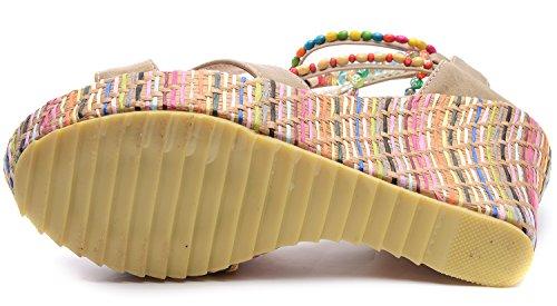 Talon Main Abricot Odema perles Talon Boheme Pente de Sandales Femme Epais qwZ8H