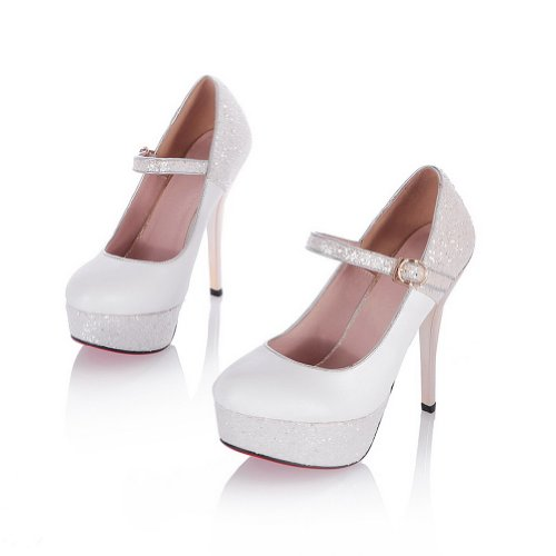 WeiPoot High Stiletto Platform Solid PU 5 Closed Soft 5 Womens B White Material Pumps M Heel US Toe Mary Round Jane SYYrqwI