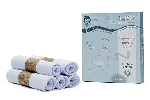 "Bambino Delfino – 5 Pack of Baby Burp Cloth– 100% Organic Cotton – Extra Large 21""x10"" Size – Triple Layer Design – Plain White - Newborn Burping Rags – Great Baby Shower Gift"