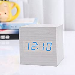 Wooden Alarm Clock, USB Digital Retro Alarm Clock Cube Wood Led Desktop Table Home Decor Mini Travel Clock Voice Sound Control JLYSHOP (White)