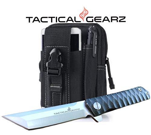 TacticalGearz Black Titanium (TiN) Stainless Steel EDC Folding Knife w/Sheath! Polished D2 Steel Blade! Ball Bearing Piviot System! (Bundle T) ()
