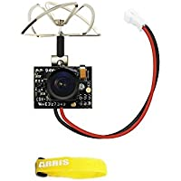 Eachine TX02 Super Mini AIO 5.8G 40CH 200mW VTX 600TVL 1/4 Cmos FPV Camera for Indoor FPV Drone Like Blade Inductrix Tiny Whoops (Free ARRIS Battery Straps)
