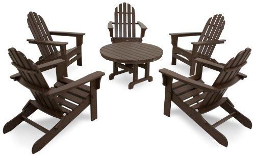 Trex Outdoor Furniture TXS115-1-VL Cape Cod 6-Piece Folding Adirondack Conversation Set, Vintage Lantern