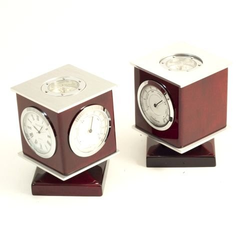 Bey-Berk International Revolving Cube Weather Station & Compass Desktop Clock