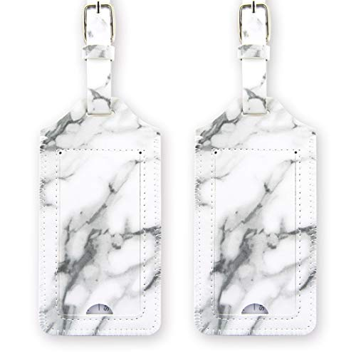 kandouren Luggage Tags 2 Pieces Set,White Marble PU Leather travel bag tags for cruise ships,for men and women ()