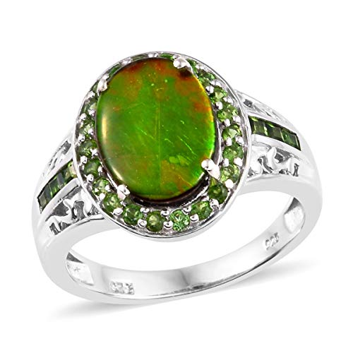 (Halo Ring 925 Sterling Silver Platinum Plated Ammolite Chrome Diopside Jewelry for Women Size 7)