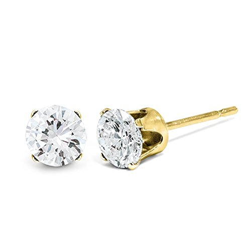 Charles & Colvard Moissanite Solitaire Solstice Earrings, 14k Yellow Gold (8MM) by The Men's Jewelry Store (for HER)