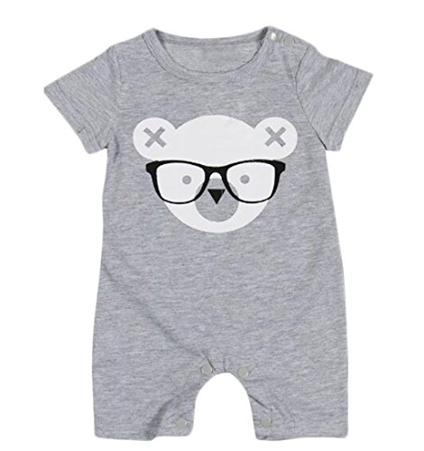 Infant Baby Summer Gray Short Sleeve Romper Cartoon Bear One Piece Suit Jumpsuit