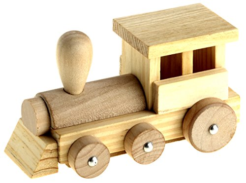 Wooden Model Kit In Tin Gift Box – 3D Construction Toy Crafts For Kids To Assemble Paint And Decorate – Instructions Included (Train) -