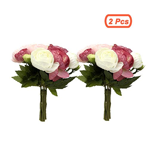 simoce Artificial Flowers 10 Heads Persian Buttercup Crowfoot Ranunculus Wedding Bride Hand Tied Bouquet Home Decoration Silk-Like Lustring Fake Décor Flowers. 7.9H x 6.3W inches. (Rose-Pink(2 Pcs))