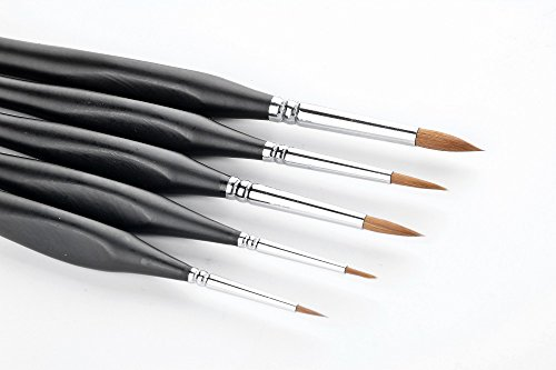Spring Paint Chips (5 pcs Best Professional Sable Detail Paint Brush, Miniature Brushes Will Keep a Fine Point and Spring, For Watercolor, Oil, Acrylic, Nail Art & Models)