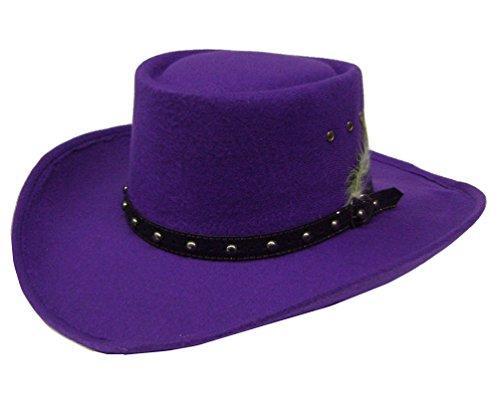 Modestone Gambler Faux Felt Cowboy Hat Purple ''Sizes For Small Heads'' (Hat Womens Felt Gambler)