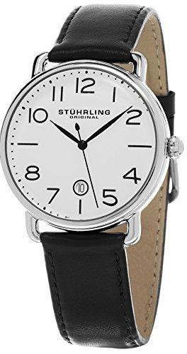 Stuhrling Original Men's 695.01 Symphony Swiss Quartz Date Black Leather Strap Watch