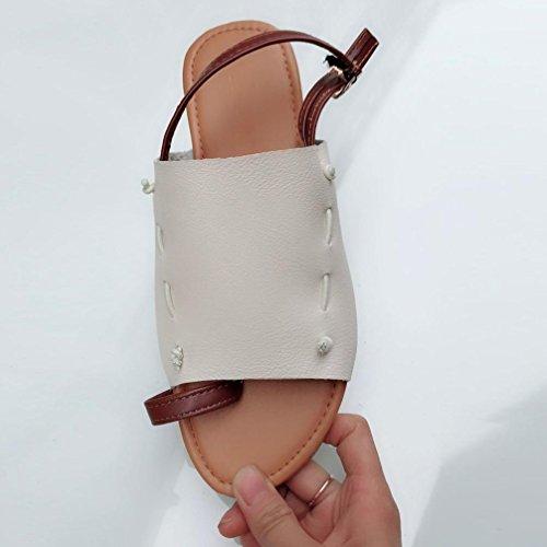 HUHU833 Summer Women Flat-Bottomed Roman Open Ankle Flat Straps Platform Wedges Sandals Beige qfaTjmaM