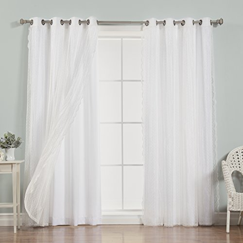 Best Home Fashion Mix & Match Dotted Tulle Lace & Nordic White Curtain Set - Bronze Grommet Top - White - 52