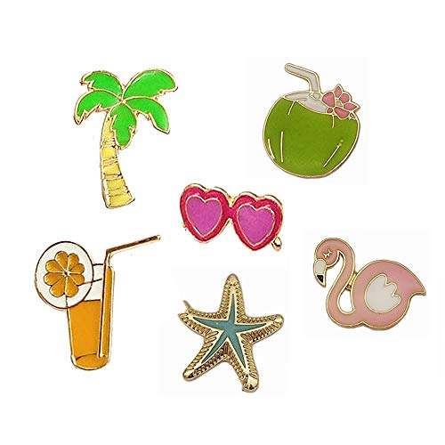 (Cute Enamel Lapel Pins Set Cartoon Animal Plant Floral Fruits Foods Brooches Pin Badges for Clothing Bags Backpacks Jackets Hat DIY (Summer sun glass orange juice coco set of 6))