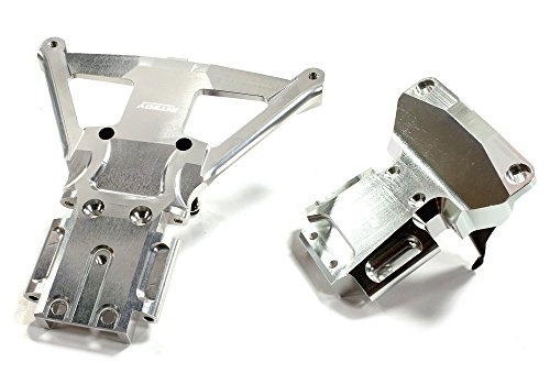 [Integy Hobby RC Model C25302SILVER Billet Machined Front & Rear Bulkhead for Traxxas Slash 4X4 LCG Chassis] (E-maxx Aluminum Chassis)