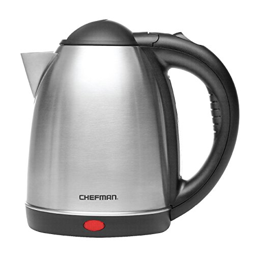 Chefman Stainless Steel Electric Kettle Quickly Heats Water Separates from Base for Cordless Pouring, Auto Shut Off Boil Dry Protection, BPA-Free Interior & Cool-Touch Handle, 1.7 Liter/1.8 Quart ()