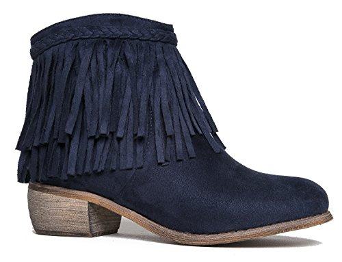 J. Adams Bree Ankle Boot - Western Fringe Cowboy Low Heel Bootie -