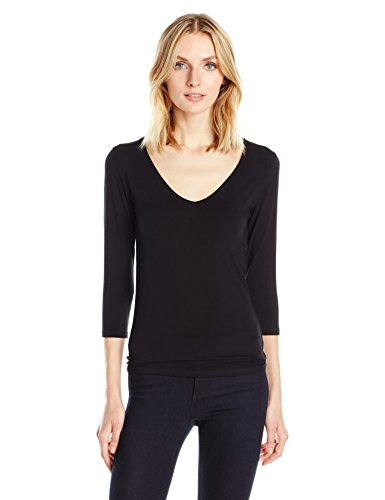 Majestic Filatures Women's Soft Touch V-Neck Tee, Noir, 3 from Majestic Filatures