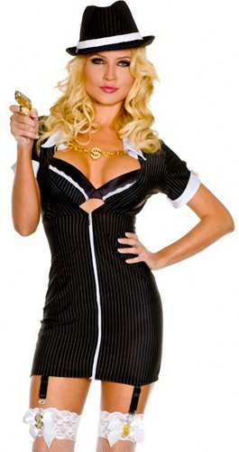 ToBeInStyle Women's Gangster W/ Toy Gun Prop & Accessories - Medium/Large - Multicolored - 50s Mafia Costume